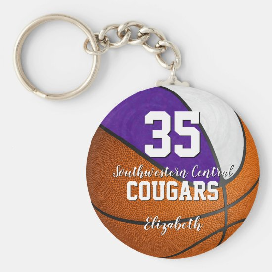purple white girly basketball school team colors keychain
