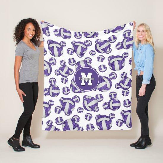 purple white girly volleyball team colors monogram fleece blanket