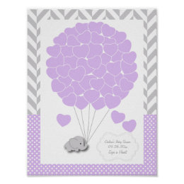 Purple, White Gray Elephant Baby Shower 2 - Guest Poster