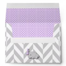 Purple, White Gray Elephant Baby Shower Envelope