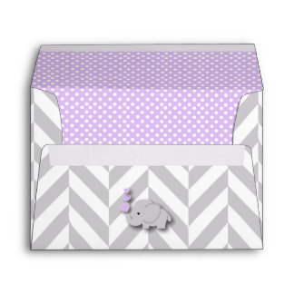 Purple, White Gray Elephant Baby Shower Envelope