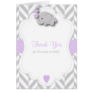 Purple, White Gray Elephant Baby Shower Thank You Card