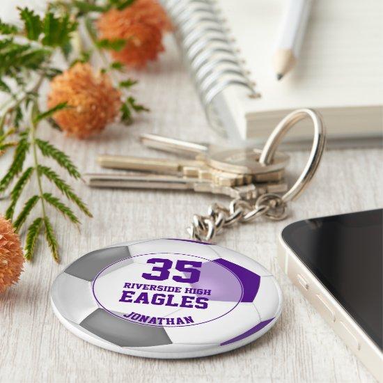 purple white gray soccer ball kids' team spirit keychain
