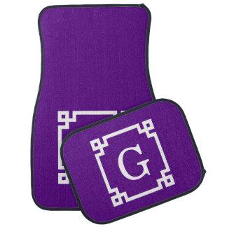 Purple White Greek Key Frame #2 Initial Monogram Car Floor Mat