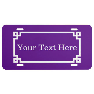 Purple White Greek Key Frame #2 Initial Monogram License Plate
