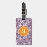 Purple & White Greek Key Monogram Luggage Tag