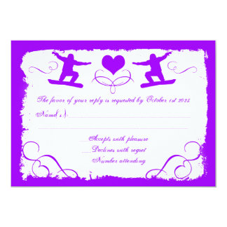 Purple white grunge snowboarder custom RSVP cards