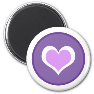 Purple & White Hearts Circle Magnet