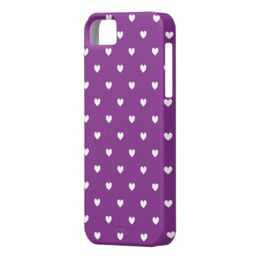 Purple & White Hearts Pattern iPhone 5 Case