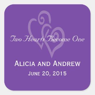 Purple White Hearts Wedding Favor Stickers