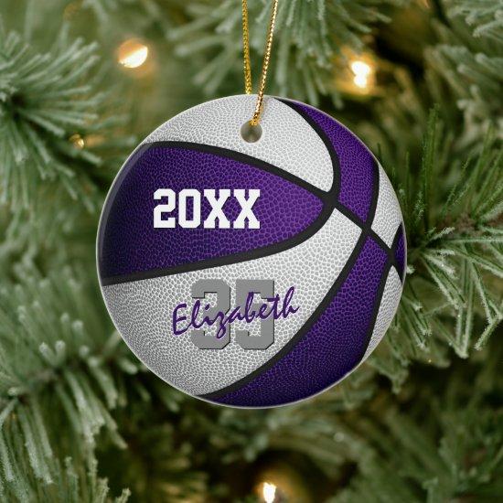 purple white her his basketball team memento ceramic ornament
