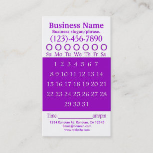 Hole punch business cards templates zazzle purple white hole punch appointment card colourmoves