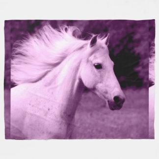Purple White Horse Head Fleece Blanket