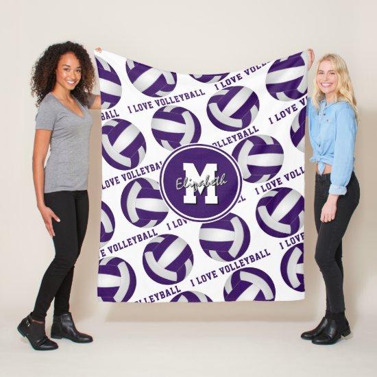 purple white I love volleyball girls sports room Fleece Blanket