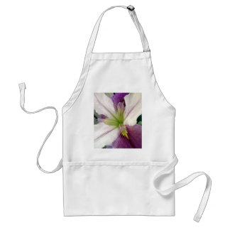 Purple & White Iris Flower Floral Photo Adult Apron