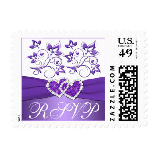 Purple White Joined Hearts Wedding RSVP Postage