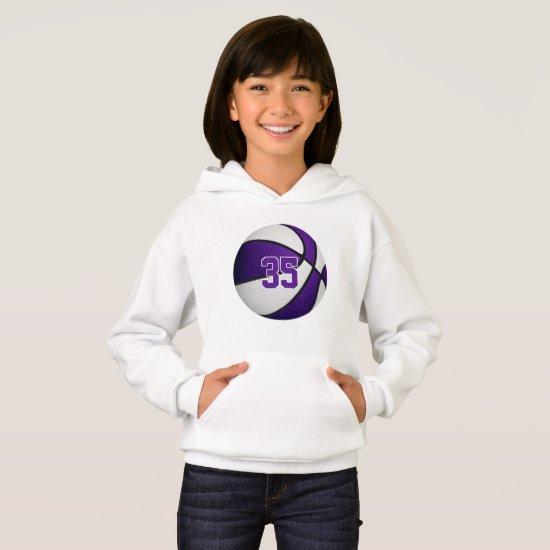 purple white kids jersey number basketball hoodie