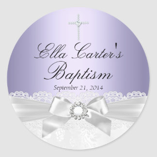 Purple White Lace & Cross Baptism Sticker