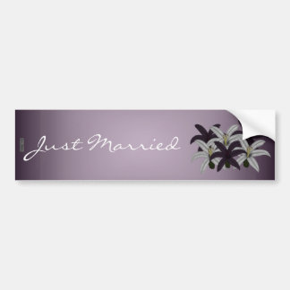 Purple & White Lillies(Just Married) Car Bumper Sticker