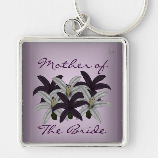 Purple & White Lillies Keychain