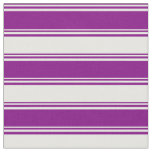 [ Thumbnail: Purple & White Lined/Striped Pattern Fabric ]