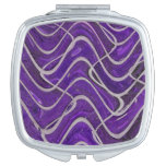 Purple White Lines pattern Travel Mirrors