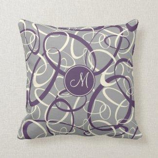 purple white loops on gray geometric pattern throw pillow