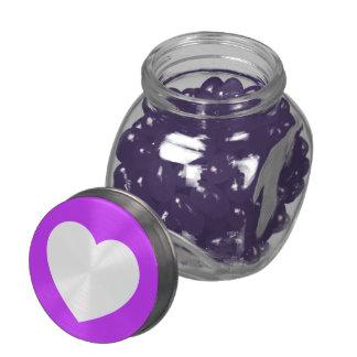 Purple/White Love Heart Glass Jar