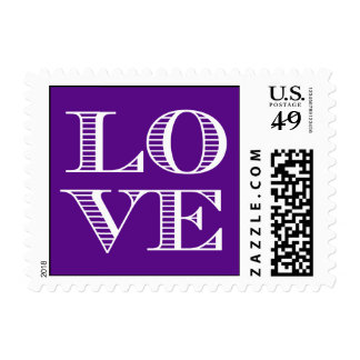 Purple White LOVE Postage Stamps small