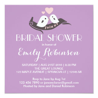 Purple White Lovebirds Bridal Shower Invitation