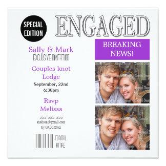 Purple white magazine PERSONALIZE Custom Announcement