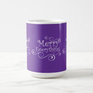 Purple  White Merry Everything Holiday Mug