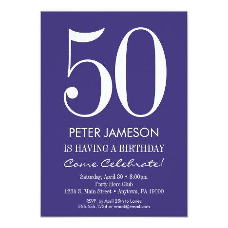 Purple & White Modern Adult Birthday Invitations