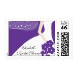 Purple / White Modern Bride Bridal Shower Stamp