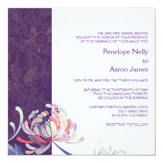 Purple & White Modern Stylish Mum Wedding Card