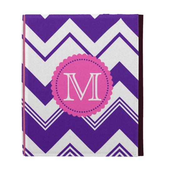 Purple White Monogram Chevron Pattern iPad Folio Cases