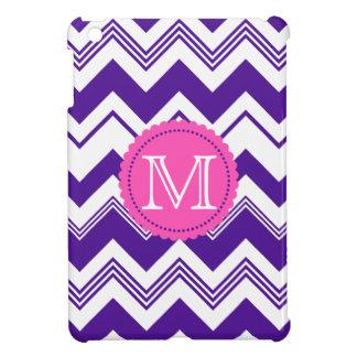 Purple White Monogram Chevron Pattern iPad Mini Cover