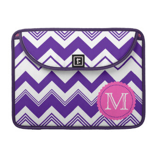 Purple White Monogram Chevron Pattern Sleeve For MacBook Pro
