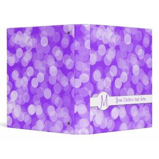 Purple white Monogram Polka dot binders binder