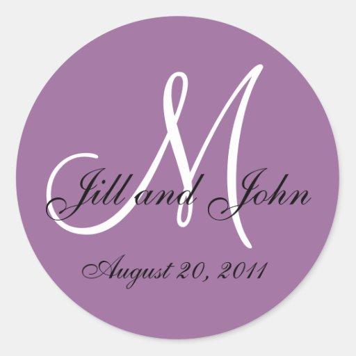 Purple White Monogram Wedding Envelope Seals Round Stickers