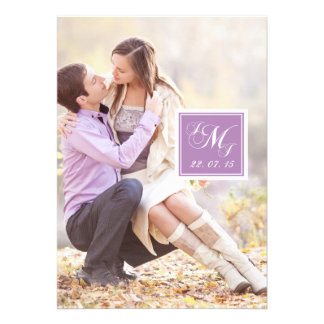 Purple White Monogrammed Photo Wedding Invitation