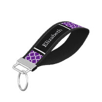 Purple White Moroccan #5 Black Name Monogram Wrist Keychain