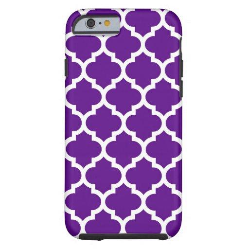Purple White Moroccan Quatrefoil Pattern #5 Tough iPhone 6 Case