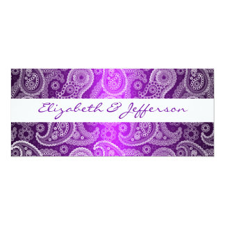 Purple & White Paisley Lace Wedding Invitation