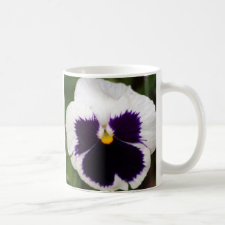 Purple & White Pansy Classic White Coffee Mug