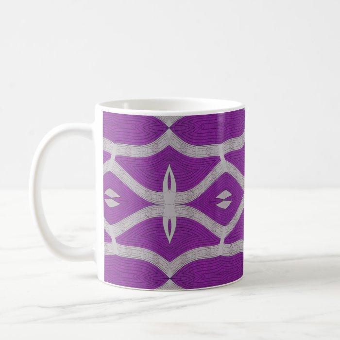 purple white pattern with flowers coffee mug