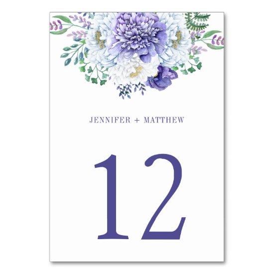 Purple White Peonies Greenery Table Number