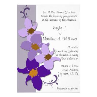 Purple White Periwinkle Flower Flourish Wedding Card
