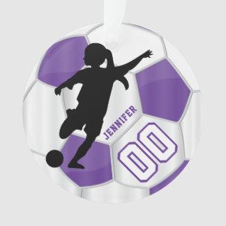 Purple & White Personalize Girl Soccer Player Ornament