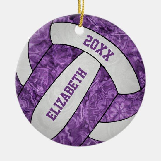purple white personalized girls' volleyball ceramic ornament